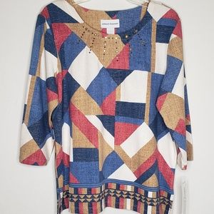 Alfred Dunner News Flash Color Block Tunic Top
